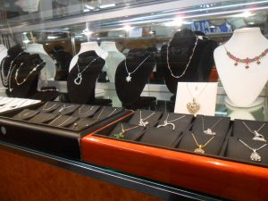 Our showcases have a variety of styles of jewelry.