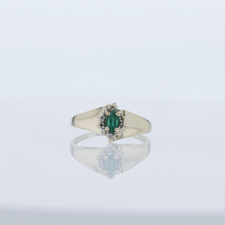 Marquise Emerald with Diamonds Ring