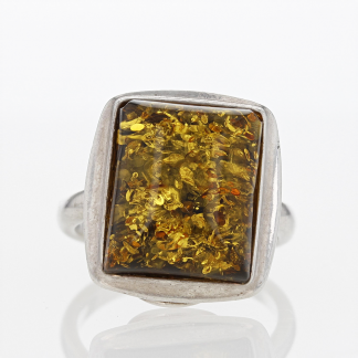 Silver Honey Amber Ring