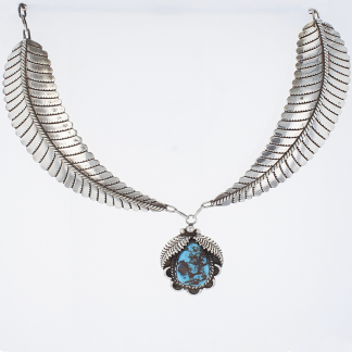 Sterling Feathers Turquoise Necklace