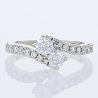 Twin Diamond Engagement Ring