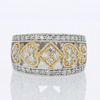 TwoTone Heart Diamond Band