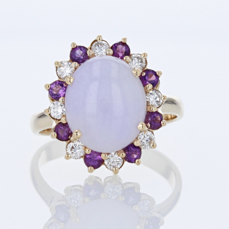Jade, Amethyst, & Diamond Ring