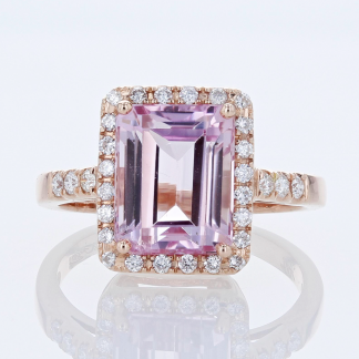 4 CT Kunzite & Diamond Ring