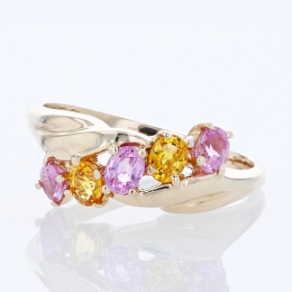Pink Tourmaline & Citrine 14 Karat Ring