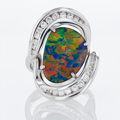 14 Karat Opal Triplet & DIamond Ring