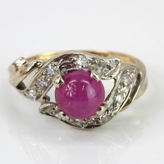 14K Pink Star Sapphire Diamond Ring