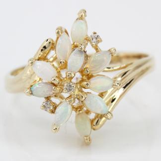 14 Karat Opal Leaf Diamond Ring