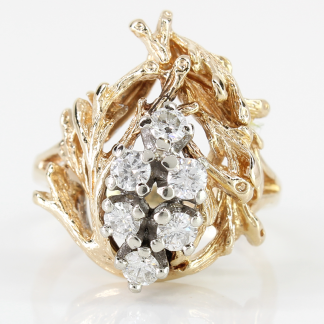14K Gold Branches and Diamond Ring