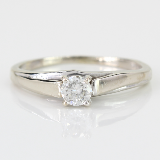 10K White Gold 1/4 Carat Solitaire Ring