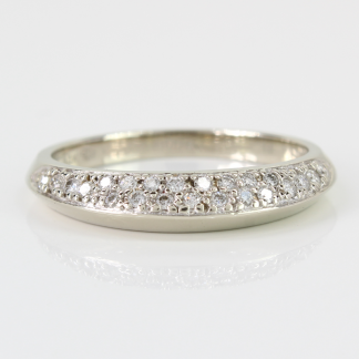 14K White Gold and Diamond Band Ring