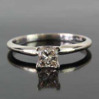 14K White Gold Solitaire Diamond Ring