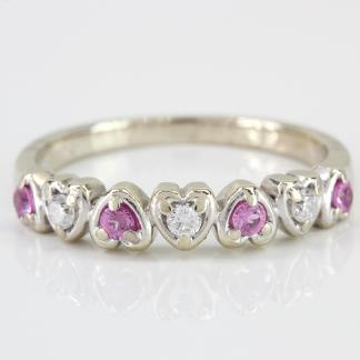 14K Gold Pink Stone & Diamond Heart Band