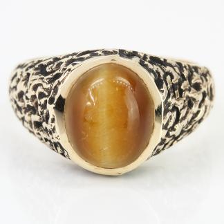 10K 2Tone Gold Tiger's Eye Sapphire Ring