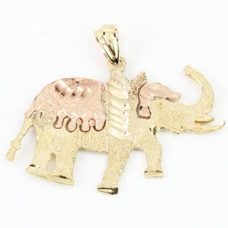 14K Gold Two-Tone Elephant Pendant