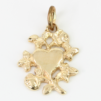 14K Gold Heart with Rose / Leaves Charm