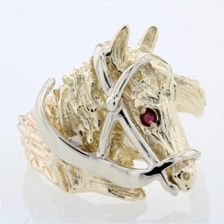 14K Two-Tone Gold & Ruby Horse Head Ring