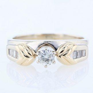 14K 2-Tone Gold Diamond Engagement Ring