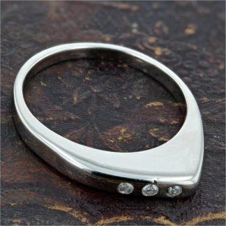 14K White Gold Diamond Offset Band Ring