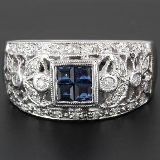 14K Diamond and Sapphire Filigree Band